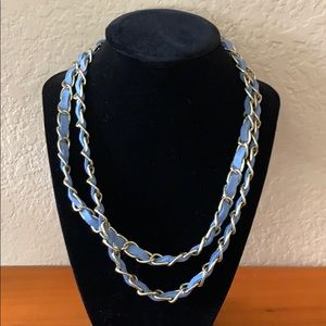 Blue leather and chain necklace